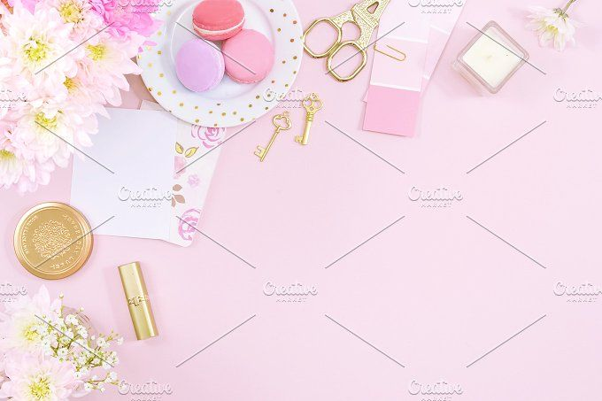 Pink floral macaron flat lay photo, desk, styled stock photo, lavender, gold, white