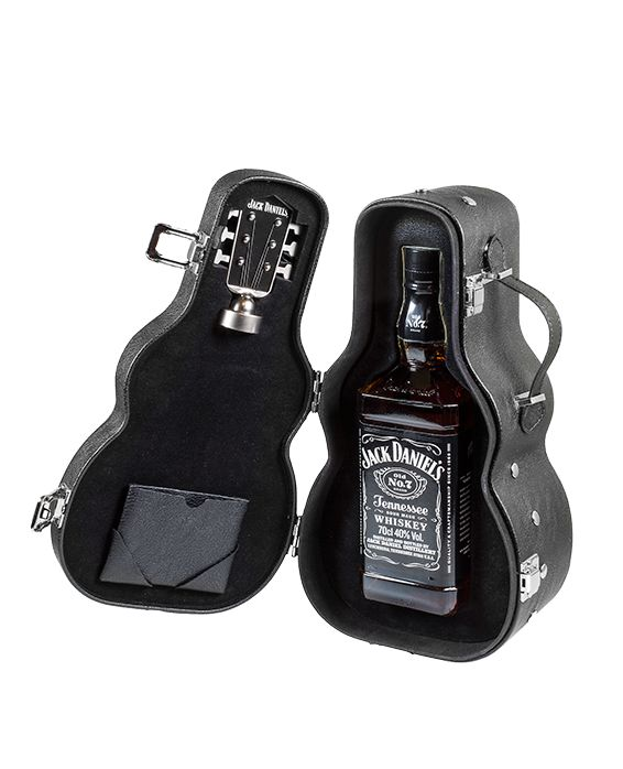 Buy Jack Daniel's Old No.7 70cl Whiskey presented in a guitar case with a guitar screw on bottle stopper from the Online Jack Daniel's store.