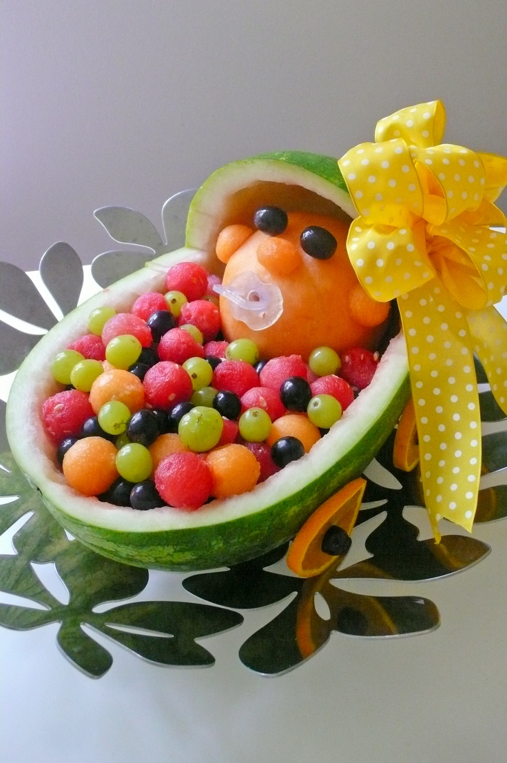 Baby-in-stroller fruit tray for baby shower