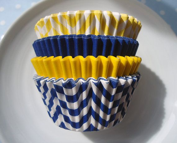 Navy Blue and Yellow Cupcake Liners - Chevron and Solid Baking Cups - Nautical Sunshine Combo (60) - SALE - SAVE 15% on Etsy, $4.80