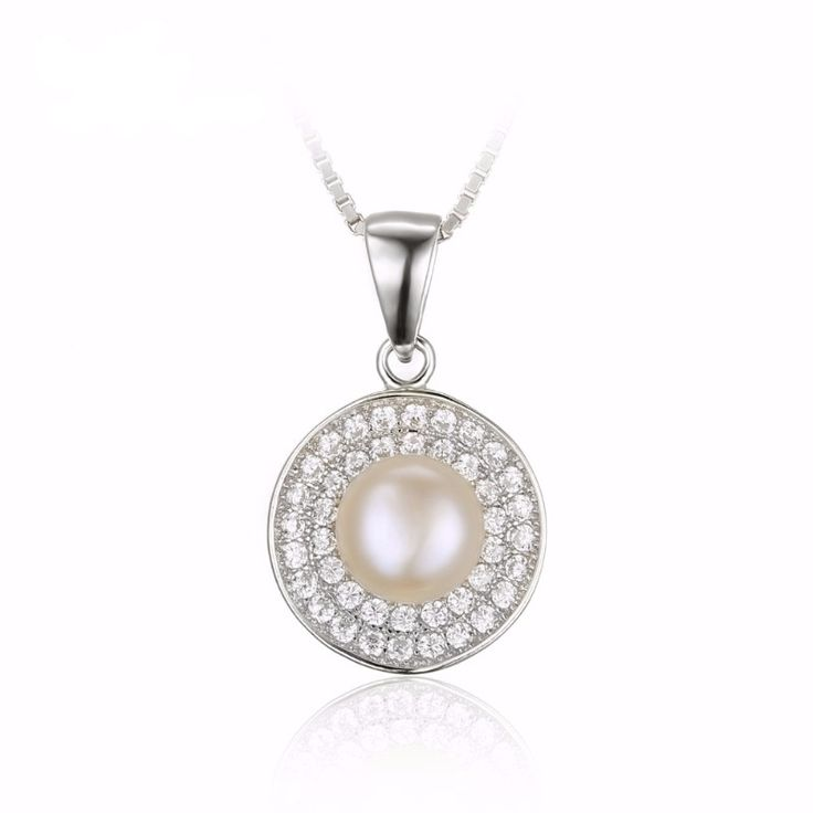 100% Natural Freshwater Pearl Pendant Necklace, Genuine 925 Sterling Silver Jewelry for Women from VS Crazy Deals