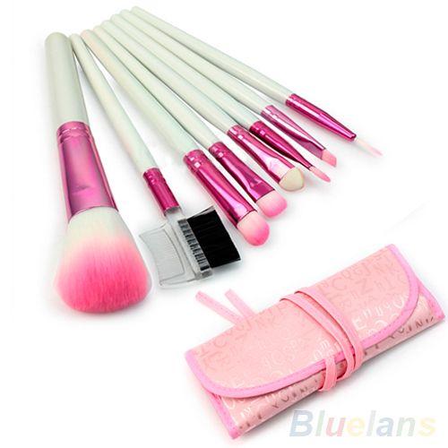 8 Pcs Pink Pro Makeup Brushes Set Eyeshadow Cosmetic Brush Kit + Pink Case  AS9 7GXX