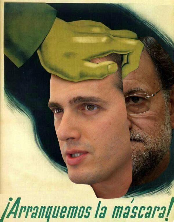 ¡Arranquemos la máscara! #Ciudadanos #PP #lomismo #AlbertRivera #Rajoy  #inepto #incompetente #titere #marioneta #corrupcion #España #MarcaEspaña #MarcaEspana #Spain