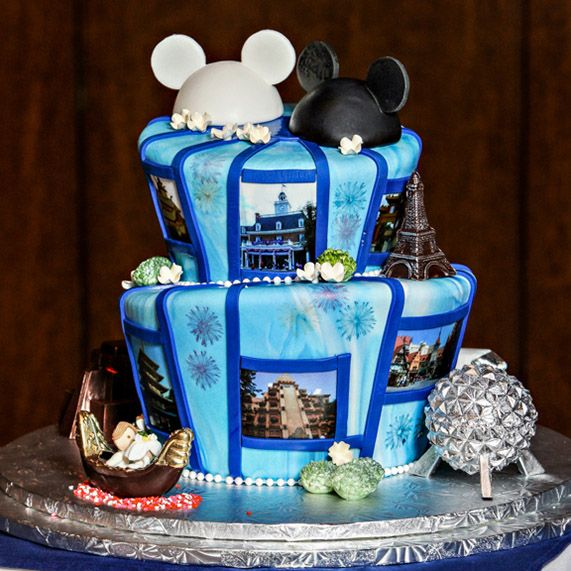 Pack your bags because this week's Wedding Cake Wednesday is a trip around the World (Showcase)! #Disney #wedding #cake #Epcot