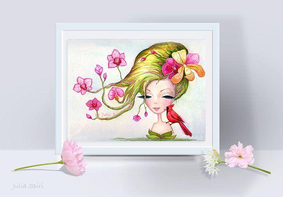 Girl Art Print Fantasy Girl illustration Floral by JuliaSpiri