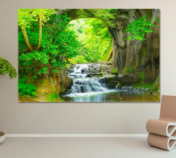 Nature Wall Art Waterfall Wall Decor Trees Art Print Giclee Etsymktgtool Naturewallart Waterfallwalldeco Waterfall Wall Large Wall Murals Etsy Wall Art