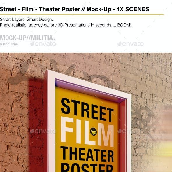 Theatre Theater Film Outdoor Poster Mock Up In 2021 Poster Mockup Theatre Poster Poster