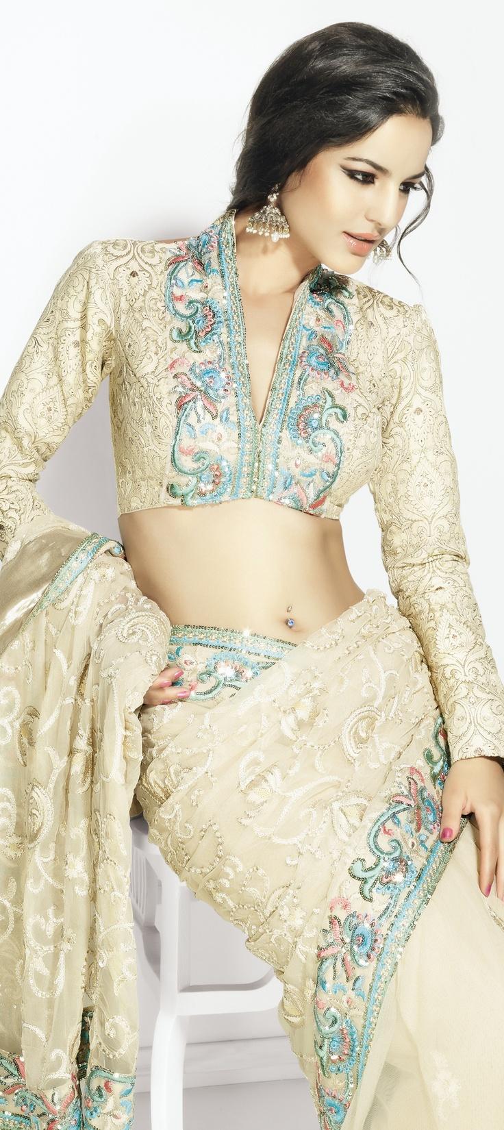 Gorgeous White and Off White Saree