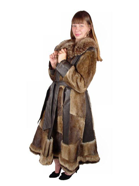 Vintage Muskrat Fur & Leather Belted Trench Coat 1970S Size 10-12