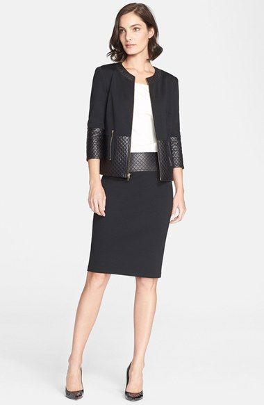 St. John Collection Quilted Leather Trim Milano Knit Suit | Nordstrom 2015
