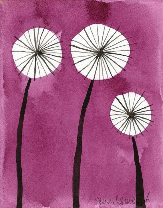 Funky Pink Dandelions  Scandinavian Flowers  by printmakerjenn, $20.00