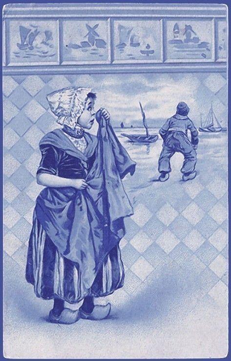 Oude tegel, huilend meisje, Delfts blauw [met PhotoFiltre gerestaureerde afbeelding]