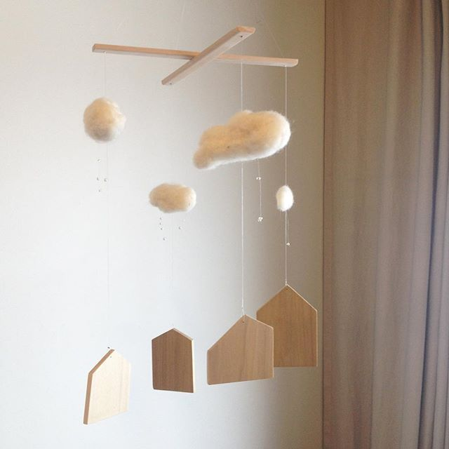 Unprepared - a simple, neutral rainy day mobile made of wood, needle-felted wool and glass beads. A new mobile from Annex Suspended. #rainclouds #nurserydecor #babyroom #town #naturaldecor #neutralnursery #neutraldecor #natural #smalltown #smallshop #onlyone #oneofakind #handmade #madeinbc #canadamade #crib