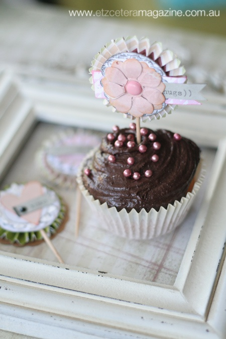 Our cupcake topper feature in Issue 6 of Etzcetera. Beautiful shabby chic toppers from Leanne Allinson