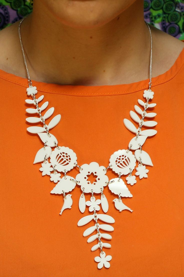 Mexican Embroidery Medium Necklace - white - Necklaces - By product - Shop
