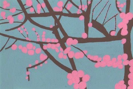 八重の紅梅か桃の花か。