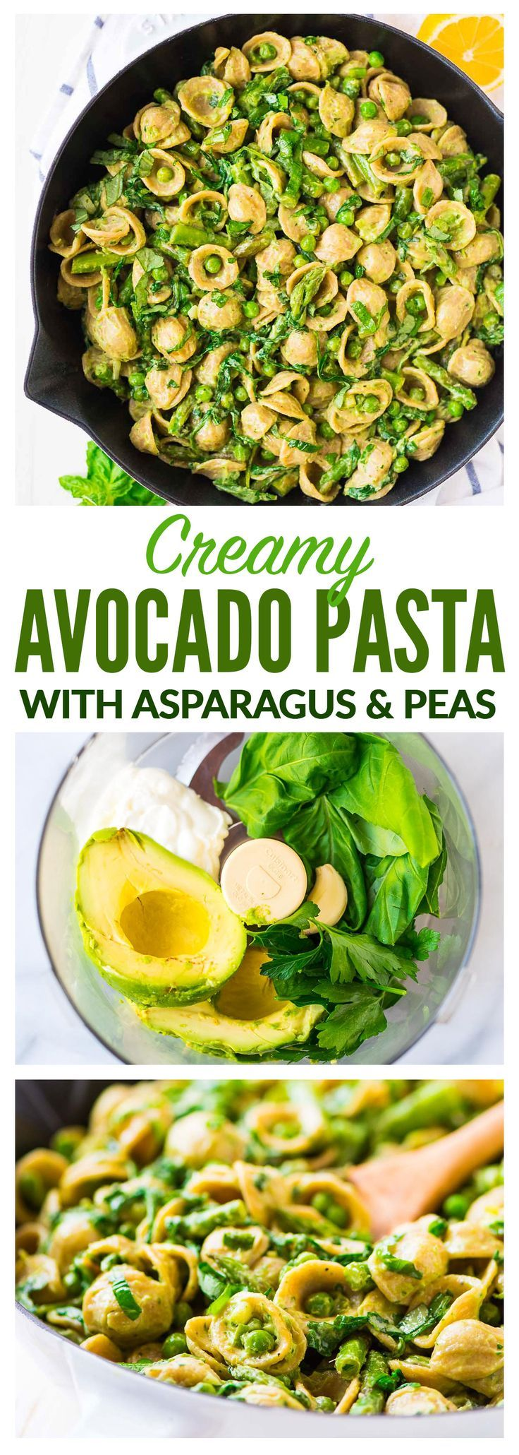 Avocado Pasta — Greek yogurt and avocado makes the CREAMIEST pasta sauce, no butter and no heavy cream required! Add asparagus, peas, spinach or any other vegetable or even chicken. Easy and healthy. Recipe at wellplated.com | @wellplated