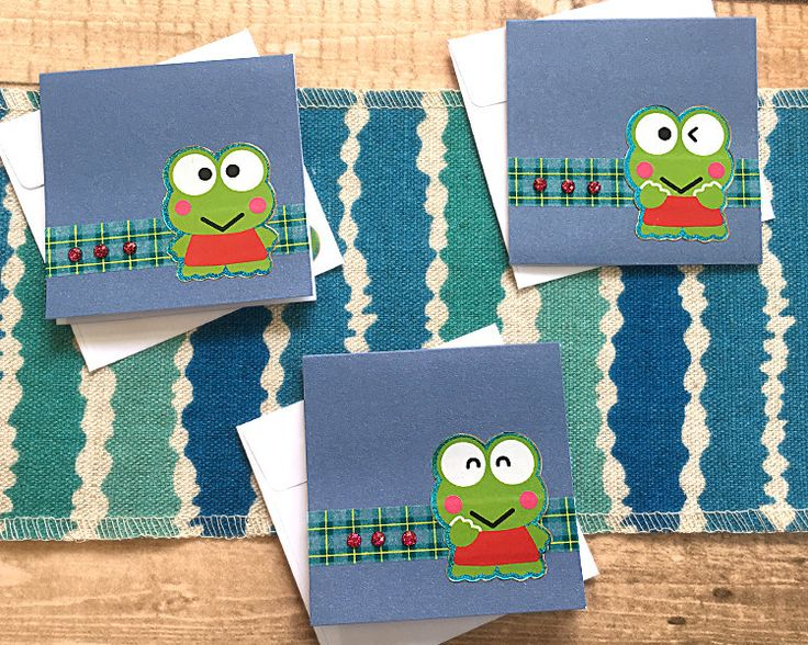 "Set of Three 3""x3"" Frogs and Bling Mini-Cards, Birthday, Friendship Day August 7, Gift Tags, Celebrate, Keroppi, Hello Kitty, All Occasion by PaperDahlsLLC on Etsy"