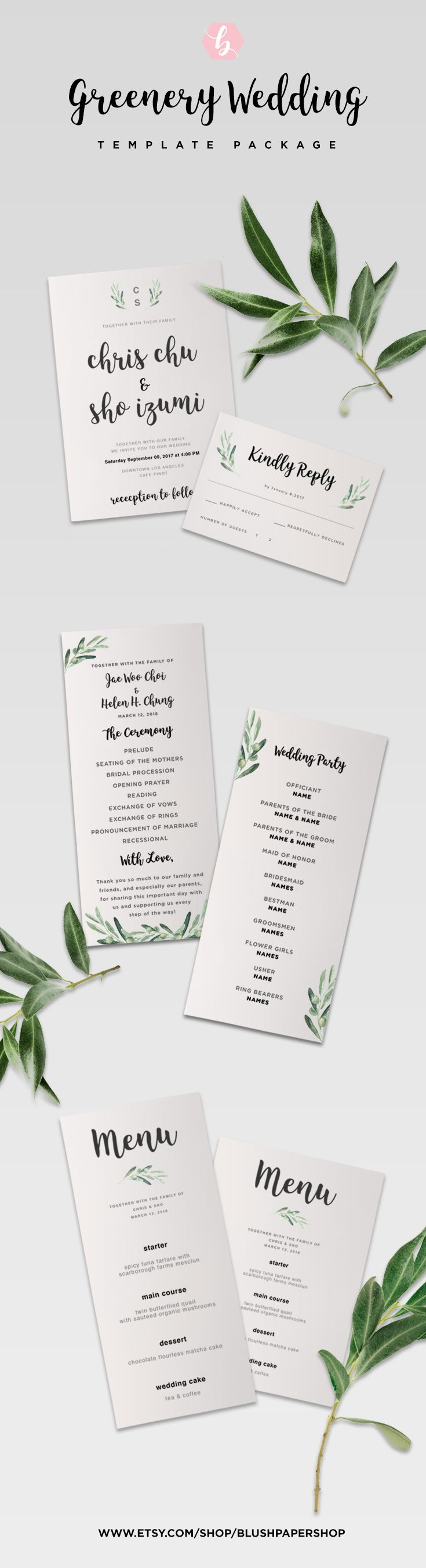 tulip wedding invitation templates%0A Now you can make a professional looking greenery wedding invitation  yourself  No need to download any fonts  just simply download the template   edit