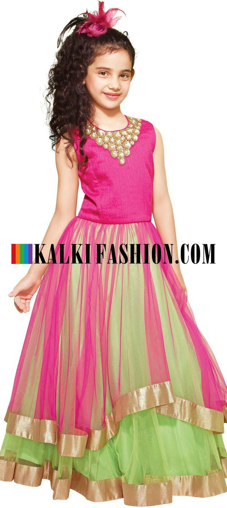 Buy Online from the link below. We ship worldwide (Free Shipping over US$100)  http://www.kalkifashion.com/indo-western-gown-in-pink-embellished-in-sequence-and-thread.html