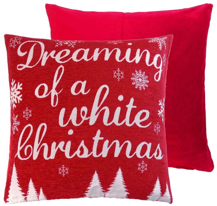 "These woven Christmas cushion covers features woven design with the words ""Dreaming of a White Christmas"" With snowflakes and trees, a plain reverse and a zip fastening. These cushions would make the perfect festive addition to any room. 