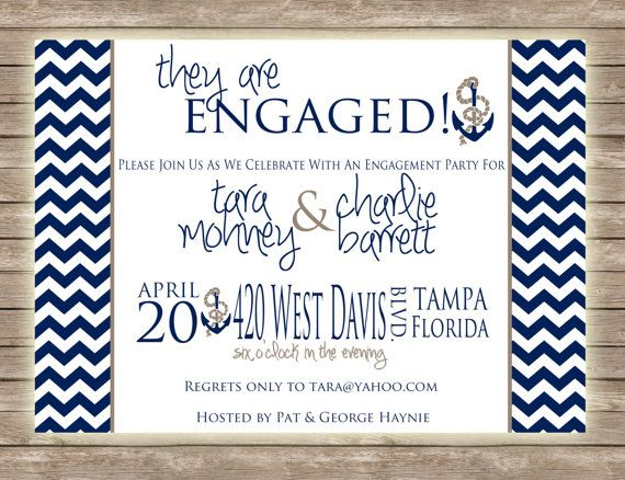 Chevron and Nautical Engagement Party by PaperCutsStationary, $1.50