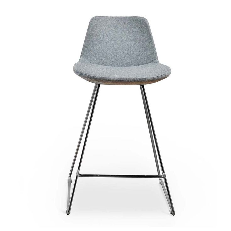 Buy Contemporary Bar Stools Online or Visit Our Showrooms To Get Inspired With The Latest Bar Stools From Life Interiors - Parker Bar Stool (Chrome, Light Grey)