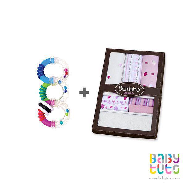 Pack caja de regalo para niña + sonajero mordedor girar y torcer, $16.150 (precio normal). Marca Bambino: http://bbt.to/1oScMAf