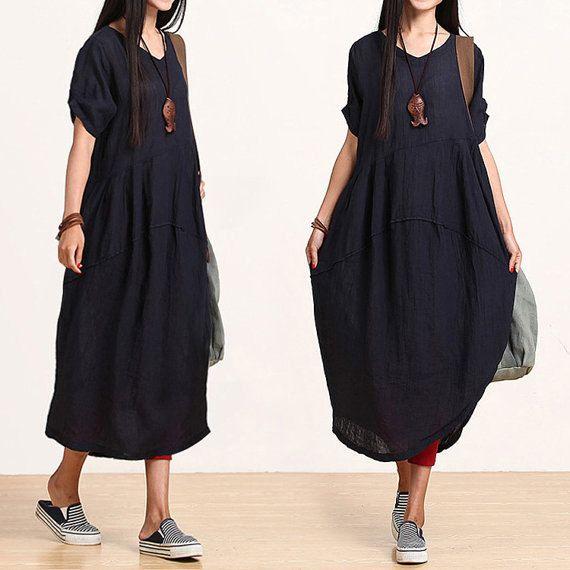 Dark blue linen sleeve V-neck dress / temperament irregular Dress