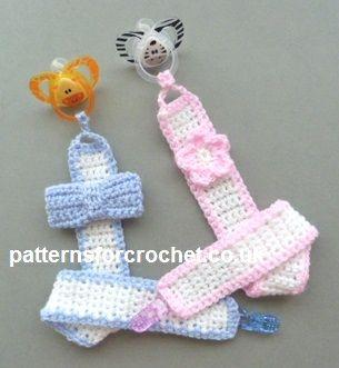 Free crochet pattern for motif pacifier clip. Free PDF http://www.patternsforcrochet.co.uk/motif-pacifier-clip-usa.html #patternsforcrochet