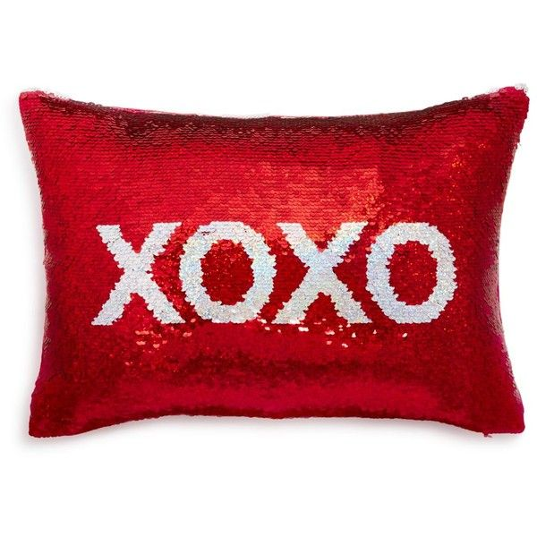 "Sparrow & Wren Xoxo Sequin Decorative Pillow, 12"" x 18"" - 100%... ($100) ❤ liked on Polyvore featuring home, home decor, throw pillows, red, red accent pillows, red toss pillows, red throw pillows, sequin throw pillow and red home decor"