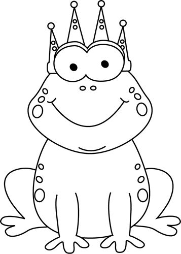 clip art black and white | Black and White Frog Prince Clip Art Image - black and white cartoon ...