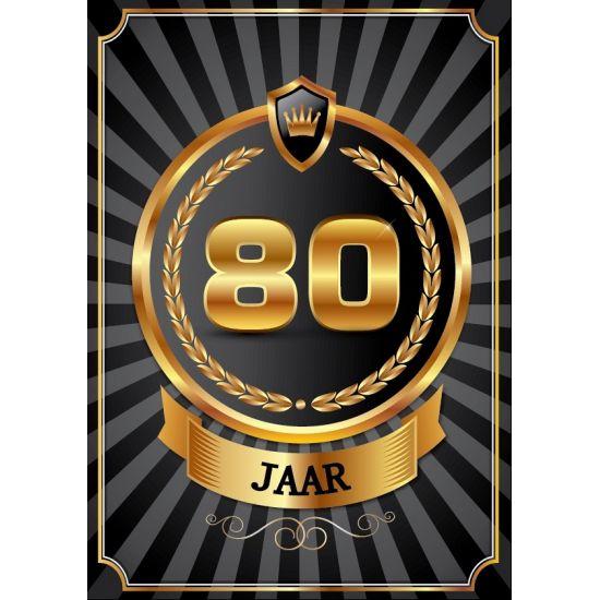 80 jaar deurposter luxe. Mooie deurposter 80 jaar, zwart met goud kleur. Deze poster kunt u op het raam of op de deur hangen. Afmeting: A2 formaat, ongeveer 59 x 42 cm.