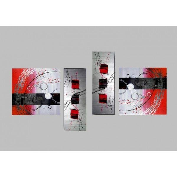 Acheter un tableau design rouge peint main
