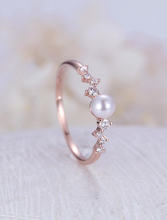 Diamond Cluster ring Pearl engagement Ring Rose Gold Mini #weddingring – Jewelry