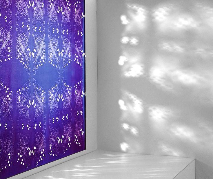Thermochromicly (heat sensitive) printed and laser etched/cut silk-viscose satin, by Textile Designer Marie Ledendal - marieledendal.se. Photo: Pierre Ledendal, Film och Bildstudion AB