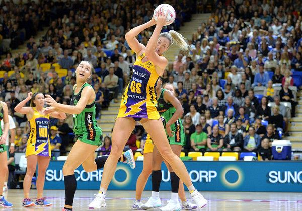 Caitlin Bassett of the Lightning in action during the round 12 Super Netball match between the Lightning and the Fever at University of the Sunshine Coast on May 12, 2017 in Sunshine Coast, Australia.