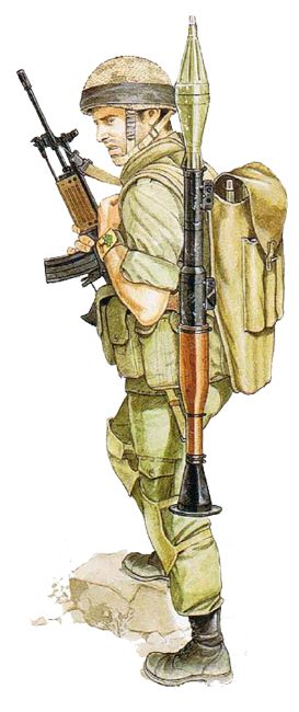 """Israeli infantryman, Golani Bde.; S. Lebanon, June 1982"", Ron Volstad"