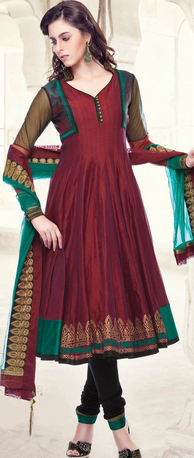 Dark #Maroon Chanderi Art Silk Readymade #Churidar #Kameez @ $161.93