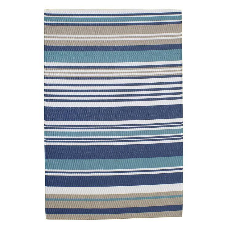 Outdoor-Teppich ESCALE aus Kunststoff, 180 x 270 cm, blau gestreift
