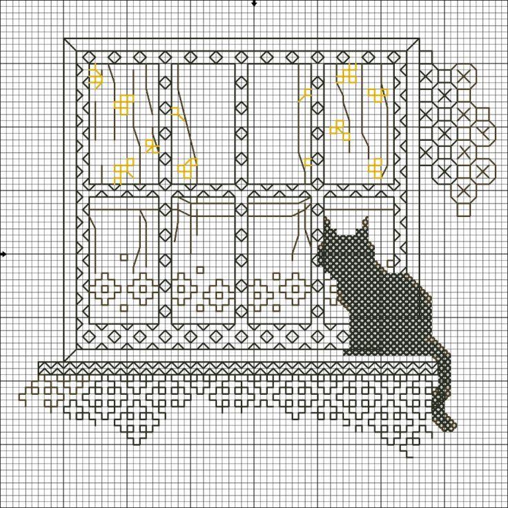 Blackwork - Cat on Window Sill (1 of 4)