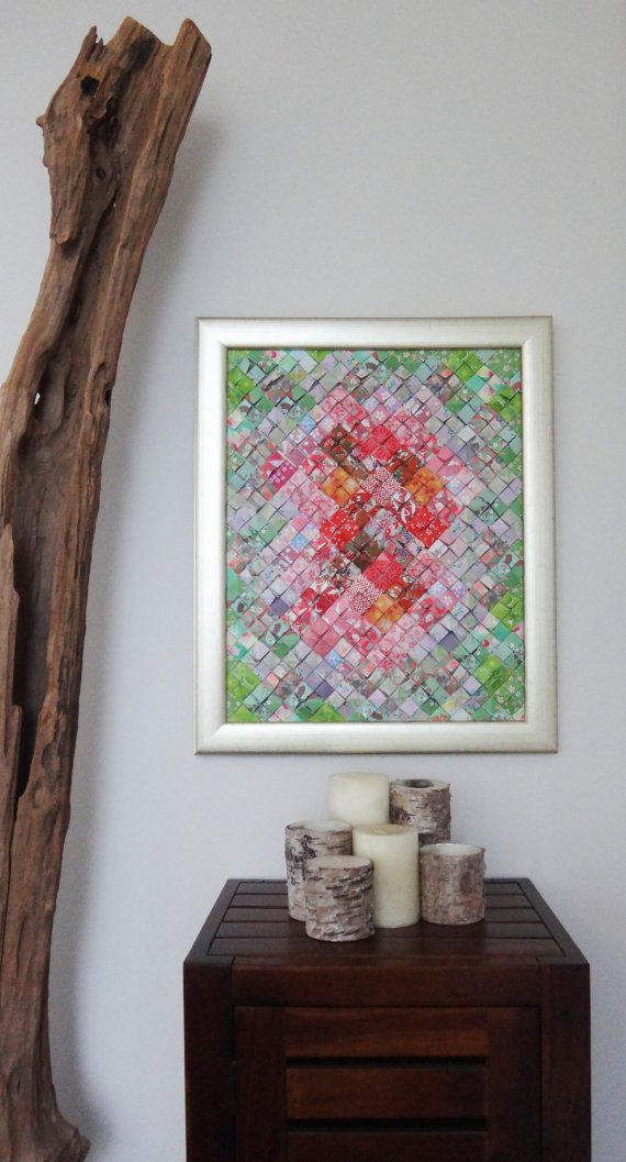 Origami Mosaic Wall Art Decor 19x23 Red & Green by TexturedColors