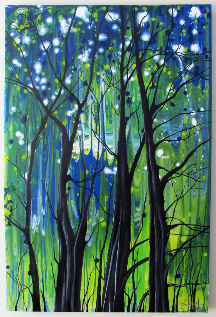 Mystical Forest acrylic painting - abstract trees Fiona-clarke.com