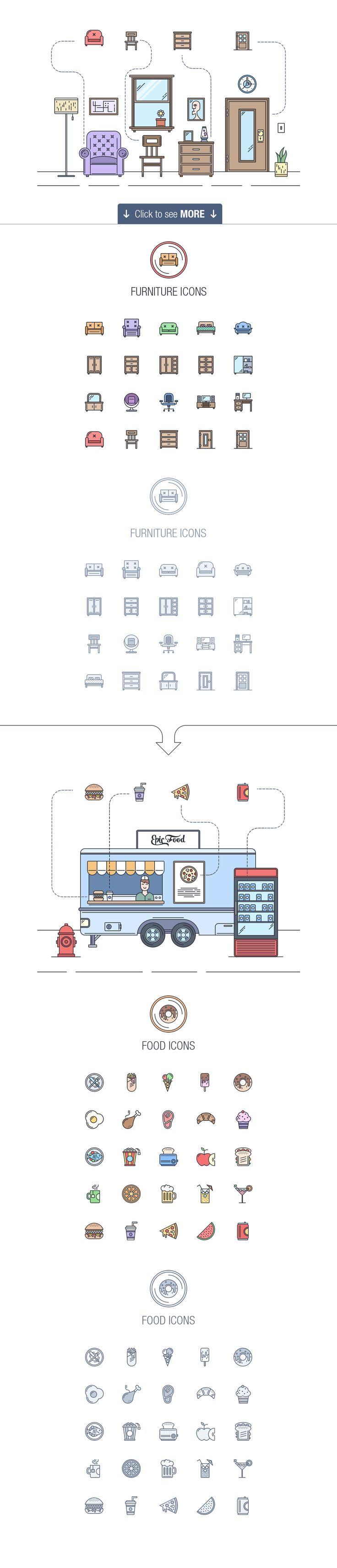 Epic landing icons + ILLUSTRATIONS by EpicShop on Creative Market