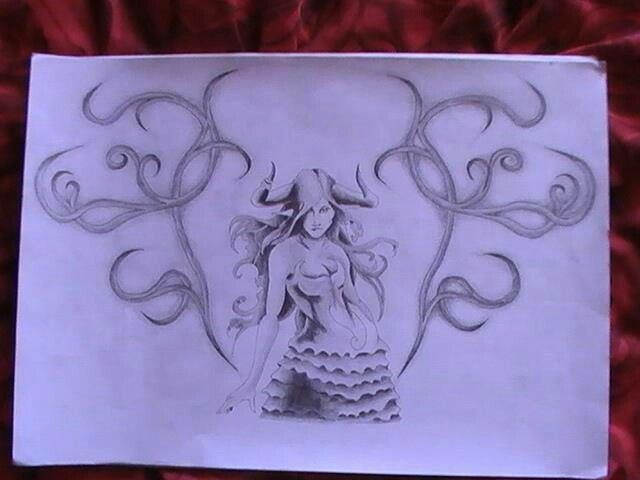 Bull-Girl tattoo design