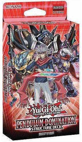 """Yugioh Game Pendulum Domination English Structure Deck - 43 cards - Make a New Year's resolution to crush your opposition with thePendulum Domination Structure Deck! The Pendulum Domination Structure Deck gives you full command of Fusion, Synchro, and Xyz Monsters by employing a unique Pendulum Summoning strategy based around """"D/D"""" monsters and """"Dark Contract"""" ca..."""