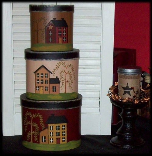 Saltbox Houses Stacking Boxes Nesting Box Set-Saltbox House Stacking Boxes,Saltbox House Decor,Saltbox Houses,Slatbox Houses Home Decor,Coun... $29.95