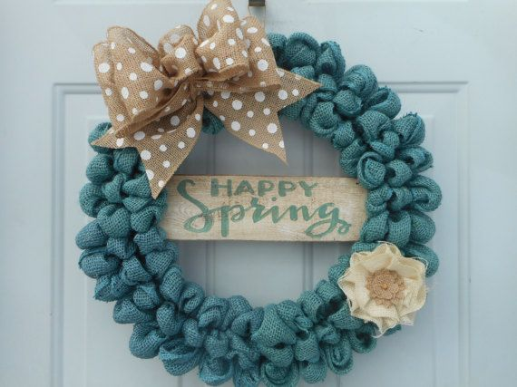 Spring wreath Spring burlap wreath Happy by ChloesCraftCloset