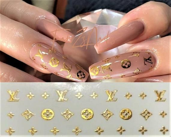 Exclusive Designs See More On My Shop Self Adhesive Nail Stickers 1 Sheet Options Gold Si Gucci Nails Coffin Nails Designs Pretty Acrylic Nails