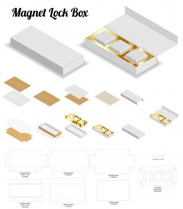 Download Magnet Lock Rigid Box 3d Mockup With Dieline Packaging Template Design Gift Set Packaging Modern Business Cards Design